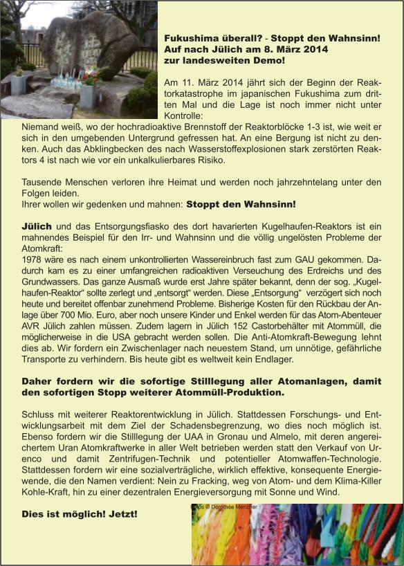 Aufruf zur Demo in Jülich