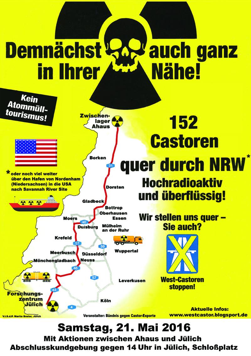 Plakat: West-Castoren stoppen! - Samstag, 21. Mai 2016